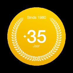 Badge 36 jaar ervaring in dakwerken Antwerpen